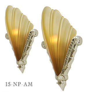 Large Art Deco Nickel Plated Sconce with French Shade: Designed By Kenk (15-NP)