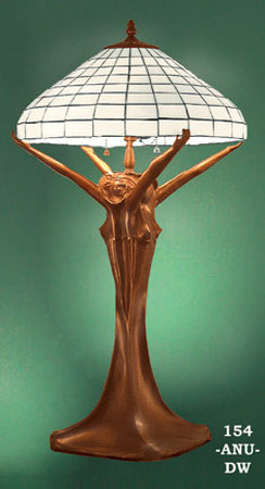 Art Nouveau Table Lamp With Leaded Glass Shade (154-ANU-DW)