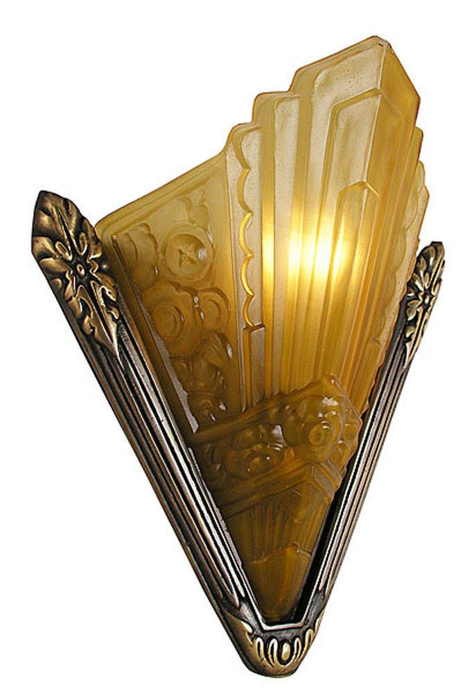 Wall Sconces Art Deco : Vintage Hardware & Lighting - Recreated Marseilles French Art Deco Slip Shade Sconce (166-ES2-DK)