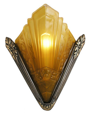 Recreated Marseilles French Art Deco Slip Shade Sconce (166-ES2-DK)
