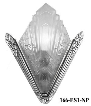 Recreated French Marseilles Art Deco Slip Shade Sconce Nickel Plated (166-ES1-NP)