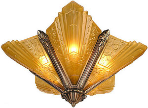 Art Deco Chandeliers Lighting Flush Mount Marseilles Series in Polished Brass (167-CH1-PB)