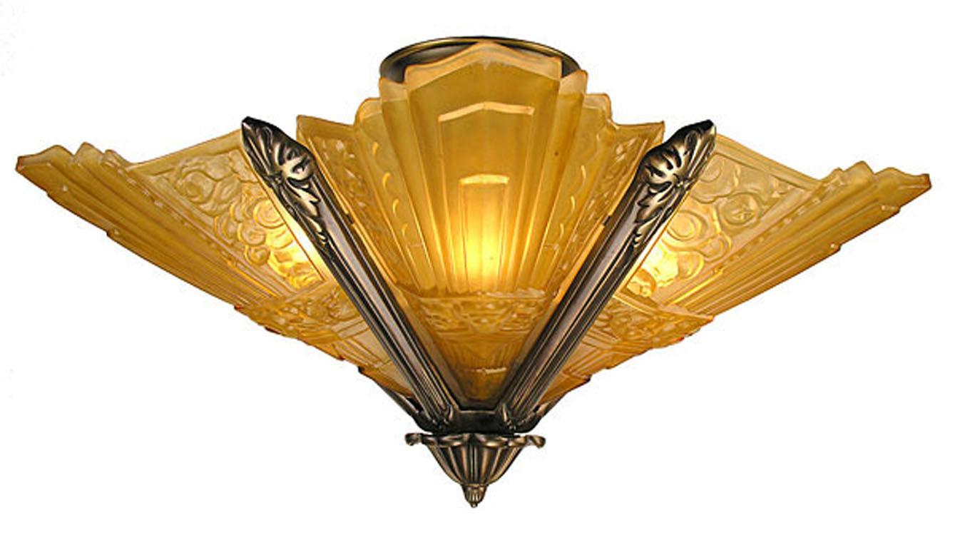 Amber Glass Ceiling Light