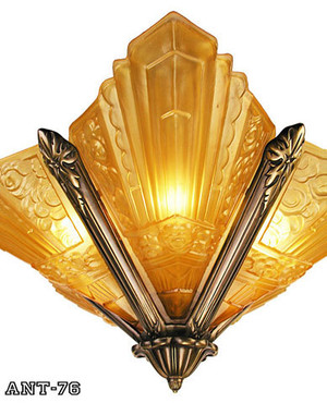 Art-Deco-Lighting-Semi-Flush-Fixtures-French-Slip-Shade-Marseilles-Series-Chandelier-in-Antique-Brass-Finish-(167-CH2-DK)
