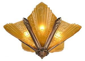 Art Deco Lighting Semi Flush Fixtures French Slip Shade Marseilles Series Chandelier in Antique Brass Finish (167-CH2-DK)