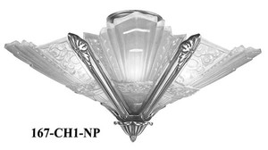 Art Deco Close Ceiling Lighting French Slip Shade Marseilles Series Chandelier in Nickel Plated (167-CH2-NP)