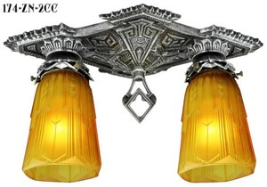 Art Deco Chicago Double Close Ceiling Light (174-ZN-2CC)