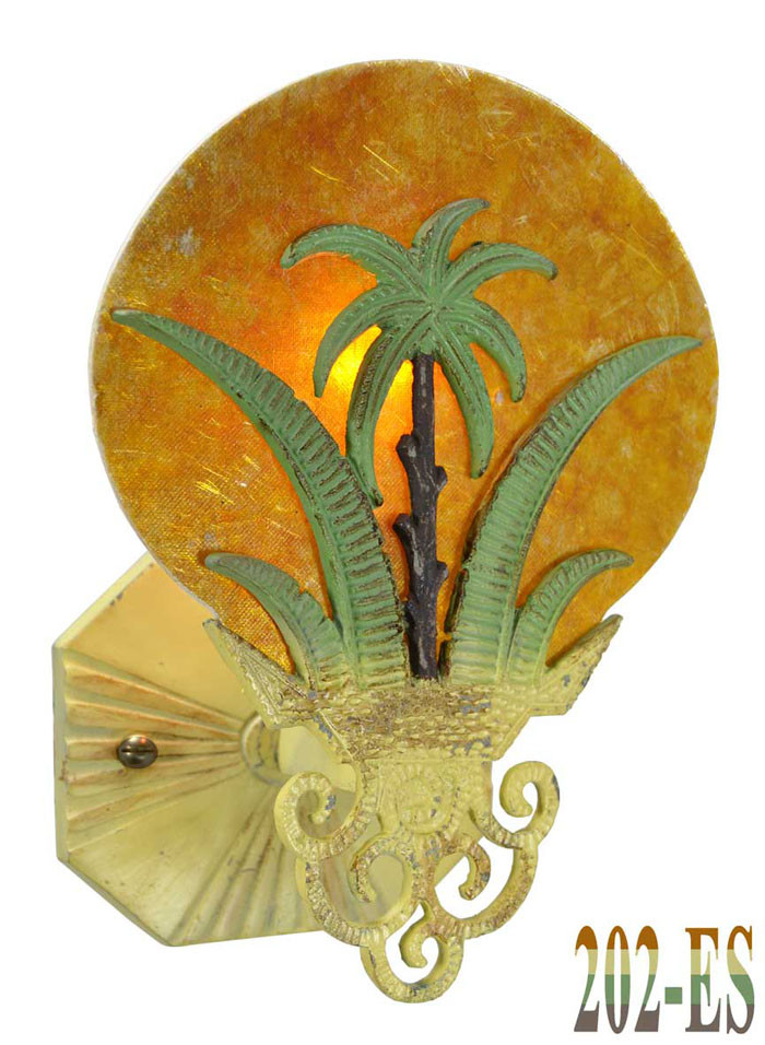Art Deco Wall Fixtures Sconces Tropical Sunset Palm Tree