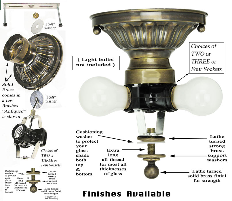 Old Ceiling Light Fixture Parts: 222 Series Close Ceiling Light Mounting Kit (222-2L-PB