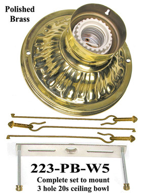 Wire Mount Ceiling Bowl Kit - Choice of Finish (223-X-W5)
