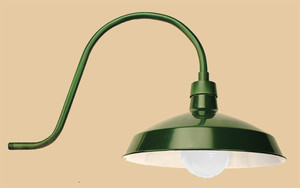 Recreated Wall Mounted Outdoor Barn Light or Gas Station Fixture, Choice of Color (241-INS-GR)