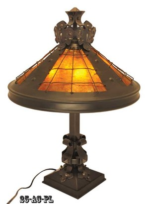 Large Arts and Crafts Table Lamp with Mica Shade (25-AC-PL)
