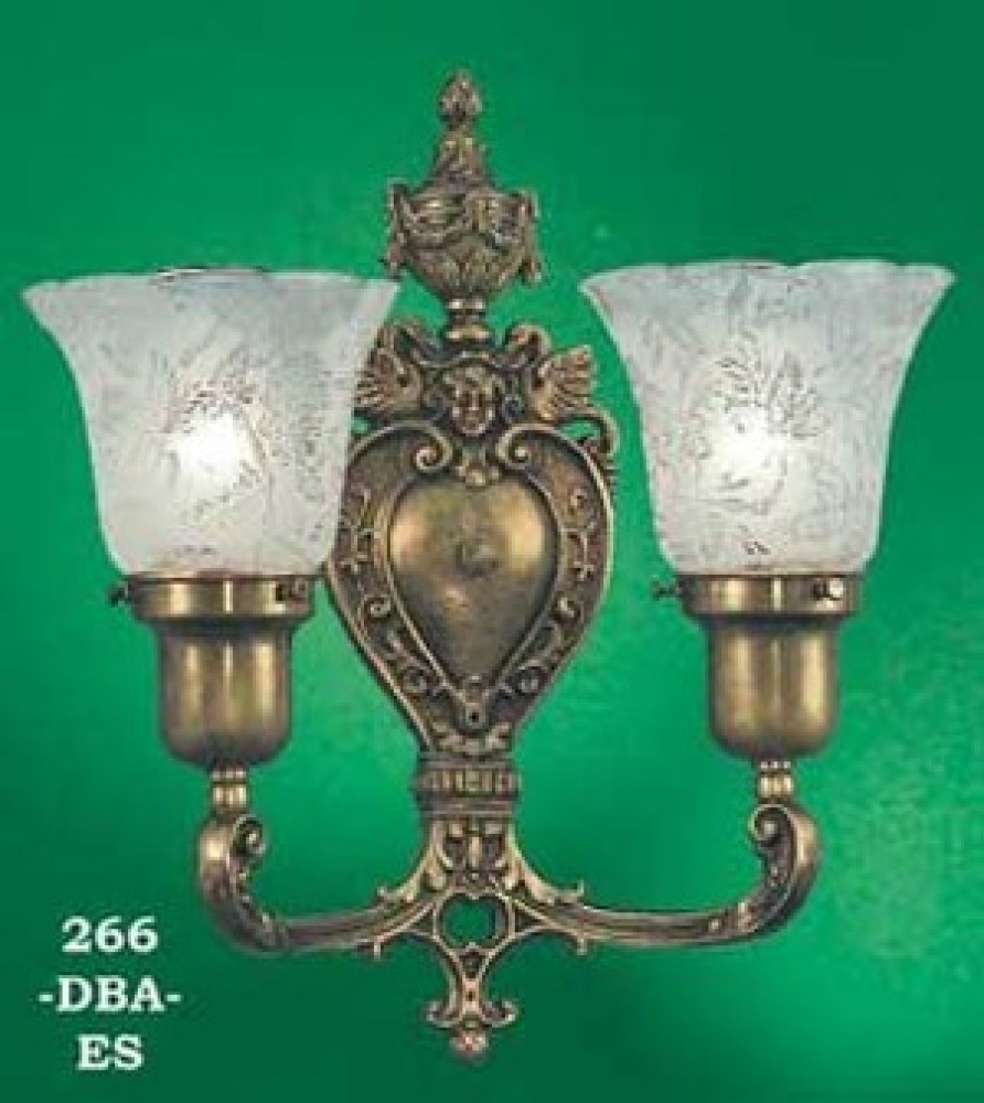 Victorian Double Wall Sconce -No Shades- (266-DBA-ES)