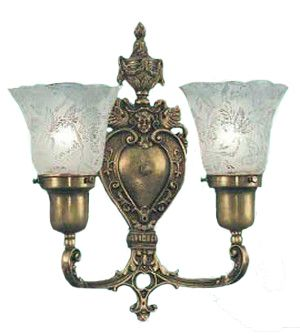 Victorian Style Double Wall Sconce 2-Arm Up Light Electric Fixture (266-DBA-ES)