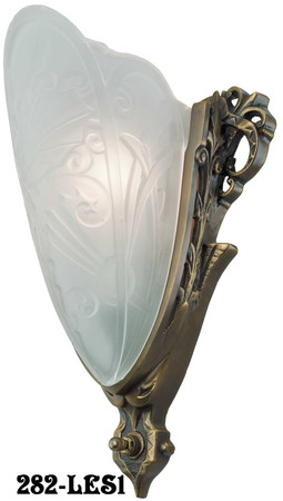 Art Deco Light Fixtures Sconces Lincoln Medieval Slip Shade With Frosted Shade (282-LES1)