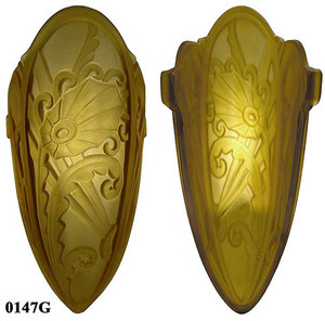 Art-Deco-Wall-Lighting-Sconces-Slip-Shade-Medieval-Series-With-Amber-Shade-(282-LES2)