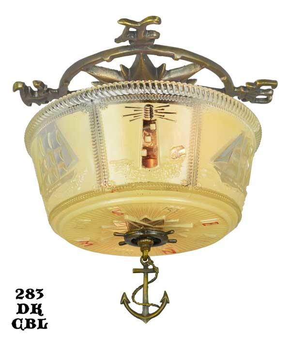 Vintage Hardware Amp Lighting Art Deco Close Ceiling Bowl