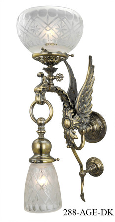 Victorian Phoenix Bird Transitional Sconce C1890 (288-AGE-ES)