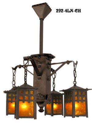 J Morgan Arts & Crafts 4 Lantern Chandelier (292-4LN-CH)