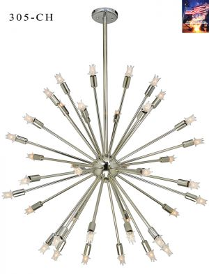 "Mid-Century Modern Sputnik Chandelier Atomic Age Design 37"" Diam Light (305-CH)"