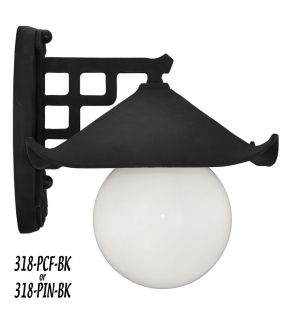 Historical Japanese Black Pagoda Porch Light C1914 (318-PIN-BK)