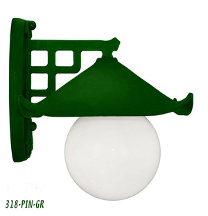 Historical Japanese Green Pagoda Porch Light C1914 (318-PIN-GR)