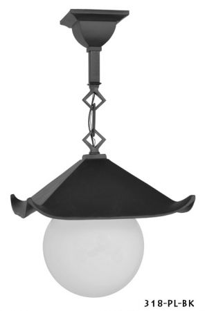 Historical Japanese Black Pagoda Pendant Porch Light C1914 (318-PL-BK)