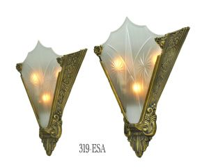 Art-Deco-Cut-Glass-and-Bronze-Sconce-(319-ESA)