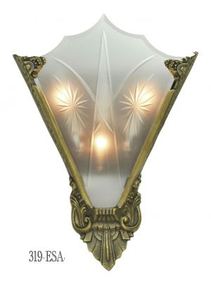 Art Deco Cut Glass and Bronze Sconce (319-ESA)