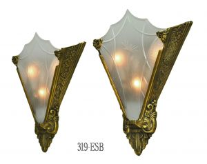 Art-Deco-Cut-Glass-and-Bronze-Sconce-(319-ESB)