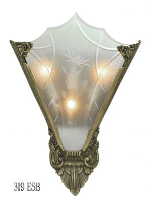 Art Deco Cut Glass and Bronze Sconce (319-ESB)