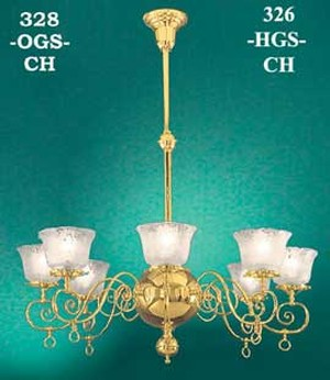 Victorian 8 Arm Chandelier Recreated Gasolier by Oxley Giddings -No Shades- Circa 1880 (328-OGS-CH)