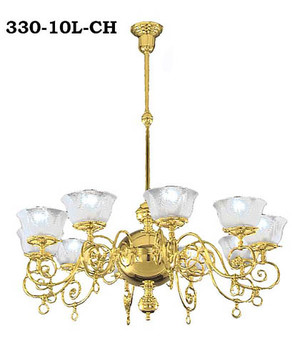 10 Arm Oxley Giddings Recreated Gas Chandelier (330-10L-CH)