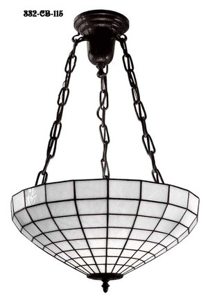Leaded White Art Glass Shade Hanging Light (332-CB-115)