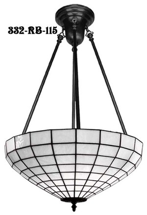 Leaded White Art Glass Shade Hanging Light (332-RB-115)