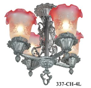 Art Nouveau Victorian Lighting Semi Flush Chandeliers Close Ceiling Lights (337-CH-4L)