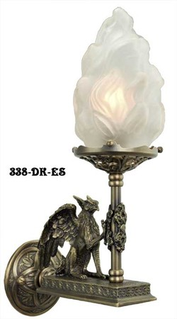 Victorian Gothic Figural Griffin Wall Sconce (338-DK-ES)