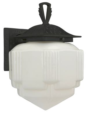 Art Deco Or Arts & Crafts Porch Sconce Light - Oil Rubbed Bronze Finish (340-OB-PRC)