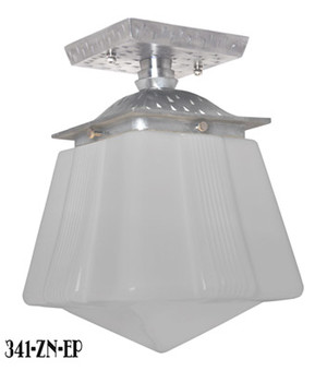 Art-Deco-Or-Arts-and-Crafts-Flush-Mount-Porch-Light--Pewter-Finish-(341-ZN-EP)