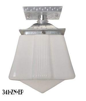 Art Deco Or Arts & Crafts Flush Mount Porch Light- Pewter Finish (341-ZN-EP)
