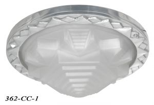 Art Deco Flush Mount Ceiling Bowl Light with Choice of Frosted or Amber Shade (362-CC-1)