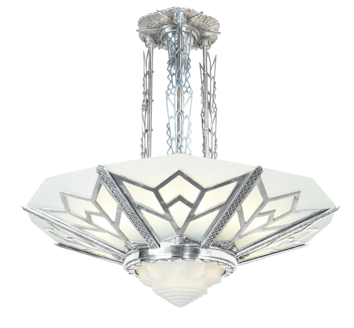 Vintage Hardware Lighting Large Art Deco Chandelier Manhattan Commercial Fixture 368 Zmc X