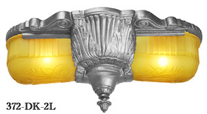Art Deco Flush Ceiling Lighting 2 Light Close Ceiling Fixtures Glen Falls Series by Lincoln (372-2L)