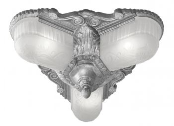 Art Deco Flush Ceiling Fixtures 3 Light Glen Falls Series by Lincoln (373-3L)