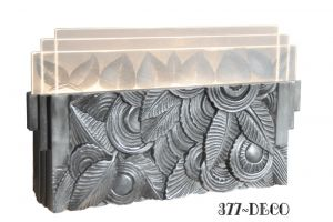 Art Deco Wall Sconce - Leaf Motif Ambient Light for Theaters Hallways Entry etc. (377-DECO)