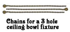 Set of 3 Chains ONLY for 3 Hole Ceiling Bowl Fixtures (3CHAIN-PB)