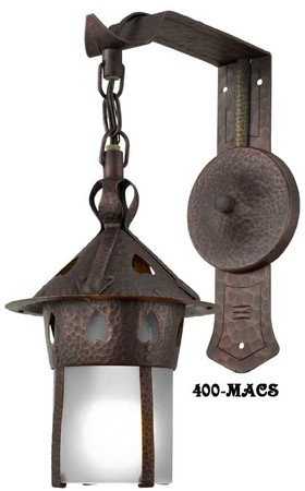 Arts & Crafts Stickley Heart Copper Sconce With Frosted Shade (400-MACS)