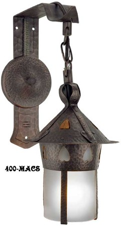 Arts-and-Crafts-Stickley-Heart-Copper-Sconce-With-Frosted-Shade-(400-MACS)