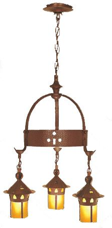 Arts & Crafts Stickley Heart Hanging 3 Light Chandelier (403-TAC-CH)