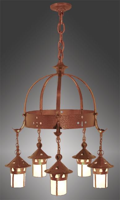 Vintage hardware lighting arts crafts stickley heart for Arts and crafts chandelier